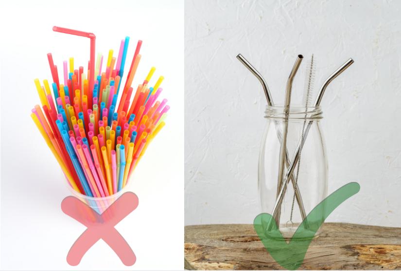 Reduce Plastic - Plastic disposible straws vs Steel Straws