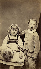 Photo: Wallace's son Bertie and daughter Violet in 18?? The image is in carte de visite format. Photographer: Robert Hider, Gravesend. First published by the A. R. Wallace Memorial Fund  & G. W. Beccaloni in 2010. Scanned with permission from the original owned by the Wallace family. Copyright of scan and owner of Publication Right: A. R. Wallace Memorial Fund & G. W. Beccaloni.