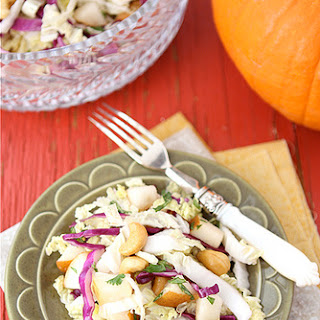 Asian Slaw with Cashews, Pear & Ginger Dressing.