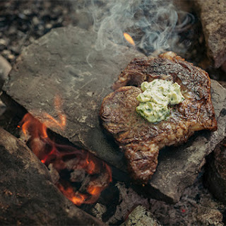Steak On a Hot Rock with Wild Herb Butter