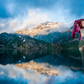 Lady of the Lake by Robert Little - Digital Art People ( mountains, nude, waterscape, lady, landscape )