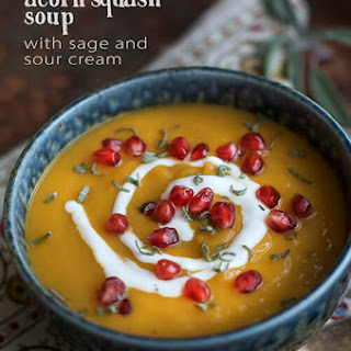 Roasted Acorn Squash Soup with Sage and Sour Cream