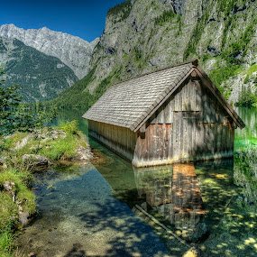 Boat House Obersee by Rashid Ramdan - Landscapes Mountains & Hills ( deutschland, mountain, obersee, nature, bavaria, lake, germany, konigsee, landscape, boat house, berchtesgaden, alps )