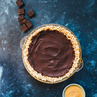 Vegan Peanut Butter Chocolate Pie with Rice Krispies Crust.