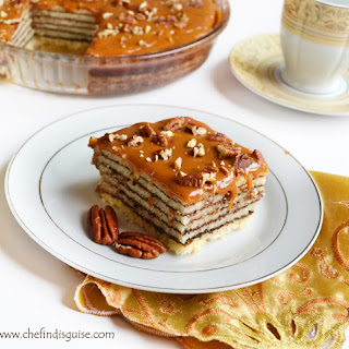 layered cake with spiced chocolate and caramel frosting (Schichttorte).