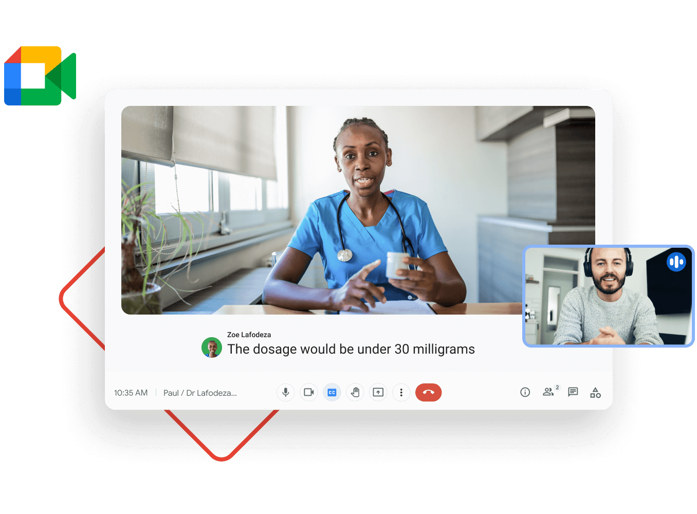 Workspace illustrative graphic - doctor video calls a patient to share an update