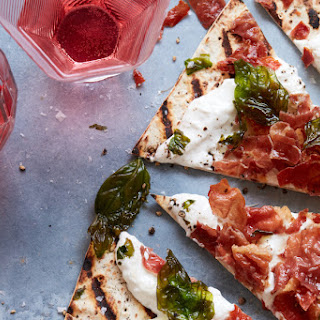 Grilled Burrata Pizza with Crispy Prosciutto and Fried Basil Recipe