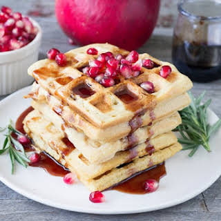 Red Lentil Waffles with Rosemary Pomegranate Syrup.