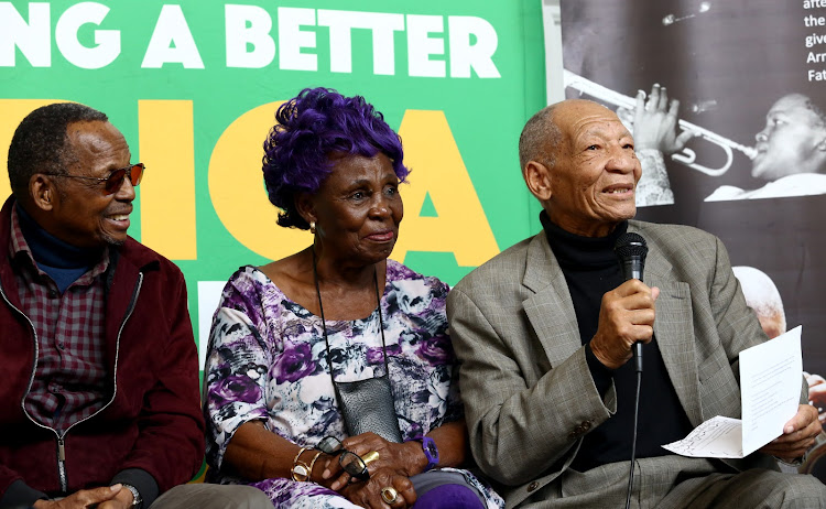 African Jazz Pioneers founder Stompie Manana and singer Dorothy Masuku listen to poet and author Don Mattera during the Africa Month Colloquia at Trevor Huddleson CR Memorial Centre in Sophiatown. Mattera was part of the Living Legends programme run by the Department of Arts and Culture. He imparted his knowledge about writing books and poems growing up in Sophiatown.