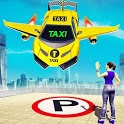 Flying Car Yellow Cab City Taxi Driving Games icon