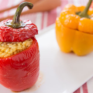 Roasted Stuffed Peppers with Chicken and Rice.