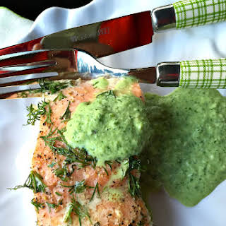 Lemon Dill Salmon with Cucumber Herb Sauce.