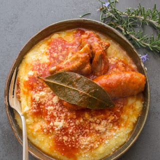 Traditional Polenta with a Sausage Pork Rib Tomato Sauce Recipe