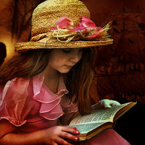 Opening New Worlds by Eugene Linzy - Digital Art People ( child, reading, girl, ship, book, romance, hat )