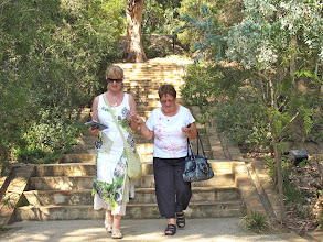 Photo: Kay Murray and Phyllis Hamilton lending a helphing hand as they step it out in the gardens at Rayol Canadel