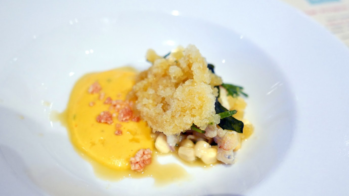 Feast Portland 2016 Twisted Filipino Dinner Mais Con Hielo: corn textures, finger lime, puffed rice, seawater paired with 2014 Columbia Winery Ancient Lakes Riesling