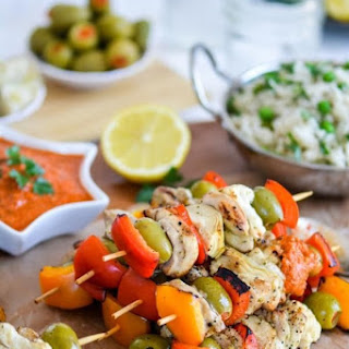 Indian-Style Chicken Kabobs with Romesco Sauce