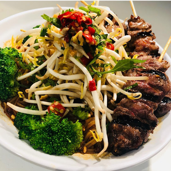 Fire Noodle bowl with Thai grilled beef...