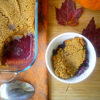 Blueberry-Pear Cobbler with a Soft Pumpkin Cookie Crust (paleo, GF)