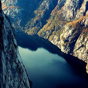 Lysefjorden in Norway by Fredrik A. Kaada - Landscapes Mountains & Hills ( water, hills, bright, green, colors, sea, rock, ocean, forest, landscape, norway, dark, focus, rocks, light, black,  )