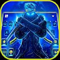 Neon Blue Ninja Keyboard Background icon
