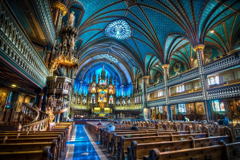"""Photo: LESSON LEARNED: Never interrupt Mass for HDR (Post processing details for the true photo nerds: goo.gl/bRlcP )  Still a fully functioning Catholic cathedral, I have one important piece of advice for successfully photographing the gorgeous interior of Notre Dame Basilica: DON""""T GO DURING SUNDAY MORNING MASS! Lori, our friend Natalie, and I thought it was our lucky day when there was no attendant at the entrance counter. As I tromped in, I recall exclaiming something enthusiastic like, """"Boardwalk and Park Place guys! This usually costs like 5 buc- Wow, wait. I think they're praying."""" As silently as possible, the two ladies helped me collect my shattered dignity from the beautifully tiled floor, and we regrouped at a nearby cafe.  Since I obviously did not take pictures during the service, we returned once mass had ended, paid our $5 and shot until early afternoon.  ------------------------------------------------------------------ #TonemapHDRTuesday curated by +Drew Pion & +Stephanie Suratos #photomatix curated by +Klaus Herrmann #repetitivetuesday +Repetitive Tuesday curated by +Frank Schillinger #POTD #plusphotoextract #plusextract curated by +Jarek Klimek of +PhotoExtract Photography Magazine  #sacredartsunday #sacredsunday +SacredSunday +SacredArtSunday  #HDR #hdrphotography #Montreal #Canada #Cathedral #travelthursday #travelphotography"""