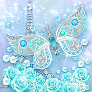 3D butterfly & rose live wallpaper theme