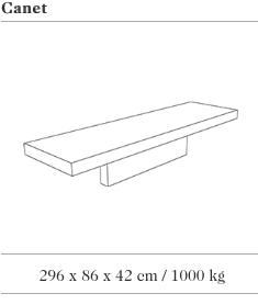 Technische tekening van de Canet zitbank uit de collectie van Escofet 1886
