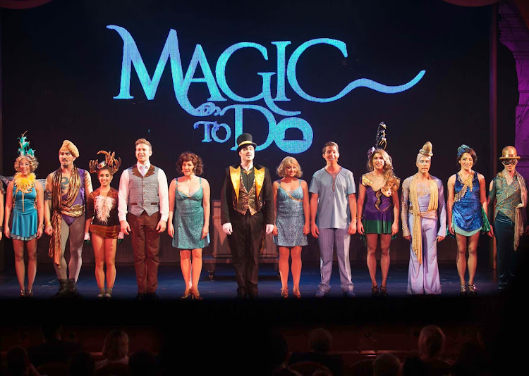"""A curtain call after an early staging of Stephen Schwartz's """"Magic to Do"""" aboard Ruby Princess."""