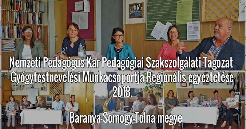 Gyógytestnevelési Munkacsoport Regionális egyeztetés 2018