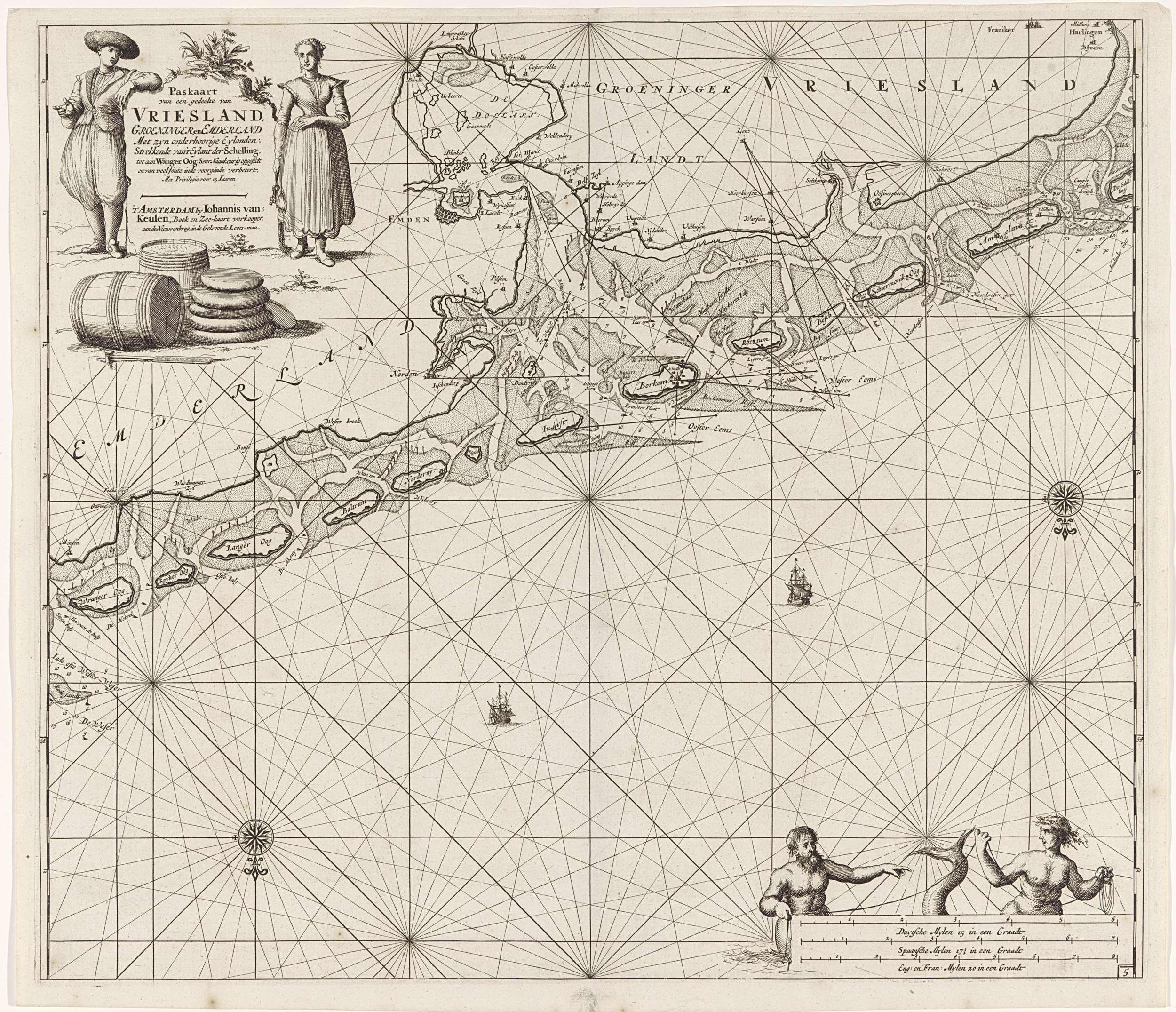 Paskaart van een groot deel de Waddeneilanden