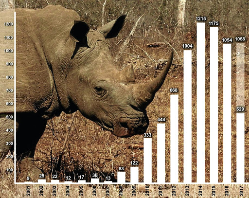 BATTLE LINES  Friday is World Rhino Day, marked by a new international plan to combat poaching of rhino and other wildlife species. In 2017 South Africa could record 1000 rhino killings for the fifth year in a rowGraphic: Sheena Carnie