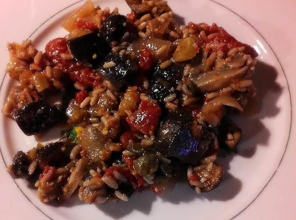 Eggplant, Rice, Fresh Veggies And Lots Of Spices Make For A Robust, Yet Low Caloric Dish.