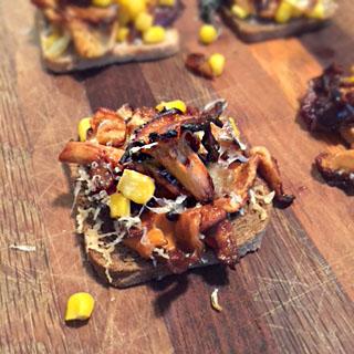 Roasted Corn and Chanterelle Mushroom Salad on Toast