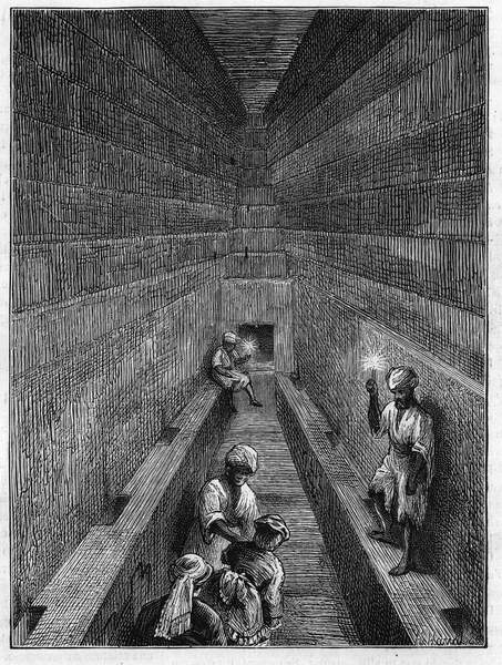 """Image of View of the large gallery of the pyramid of Kheops (Cheops, Keops, Khoufu, Khufu) in Guizeh (Guiseh, Giza, Giza), Egypt, 1873. Engraving in """""""" The Illustrious Universe"""""""", 1873, Stefano Bianchetti, Private Collection, © Stefano Bianchetti / Bridgeman Images"""