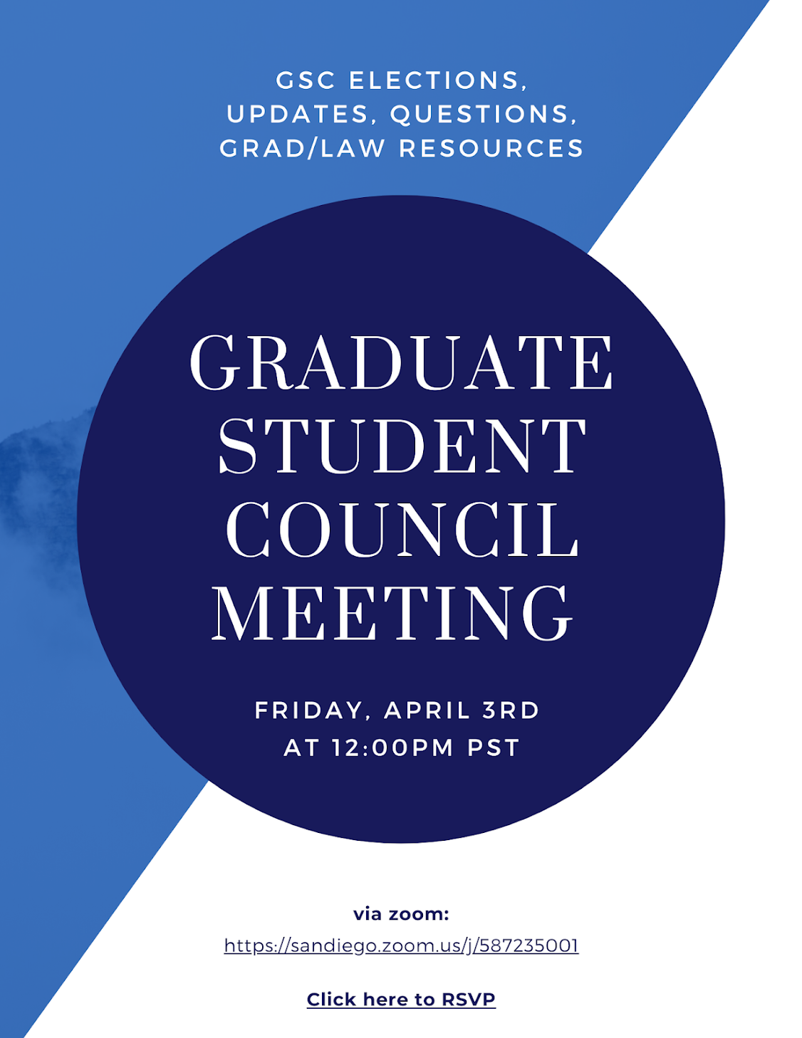 GSC Virtual Informational Meeting, Friday, April 3 at 12pm