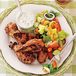 Grilled Buffalo Wings with Salad and Blue Cheese.