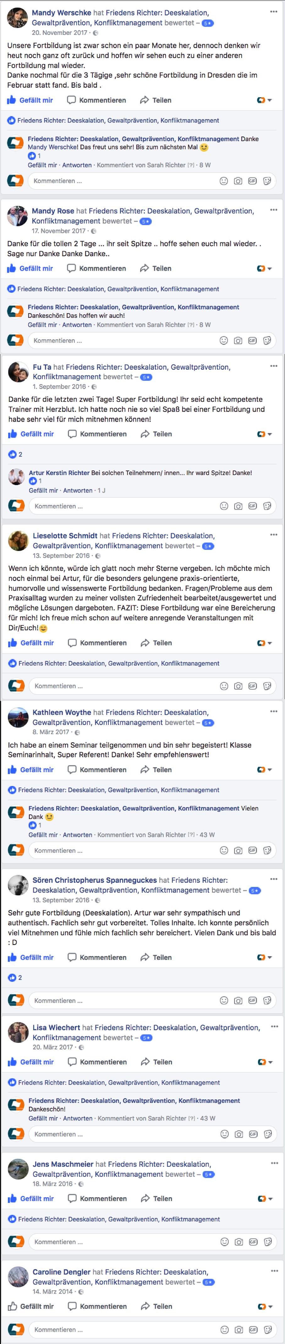 FRIEDENS RICHTER Seminarbewertungen Facebook Stand Jan 18