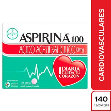 Aspirina 100mg Tableta   Caja x140Tab. BAYER Ácido Acetilsalicílico