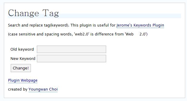 Change Tag Wordpress plugin 1.0