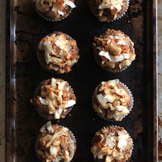 Chai Spiced Banana Bread Muffins with Maple Toasted Coconut.