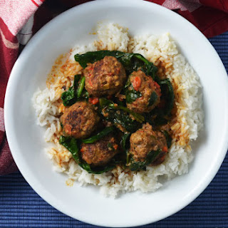 Thai Red Curry Meatballs with Coconut Curry Sauce.
