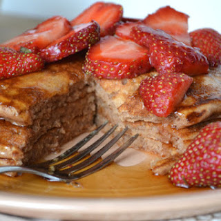 Cocoa Buttermilk Pancakes with Strawberries.