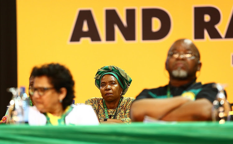 ANC presidential hopeful Dr Nkosazana Dlamini Zuma in deep thought before accepting nomination for ANC president  during the 54th ANC National Elective Conference held at Nasrec.