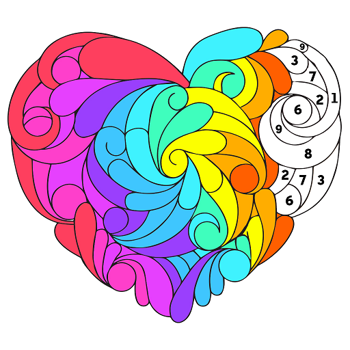 Valentine Color by Number - Paint by Numbers Pages Icon