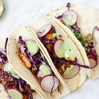 Fish Tacos with Avocado Lime Cream.