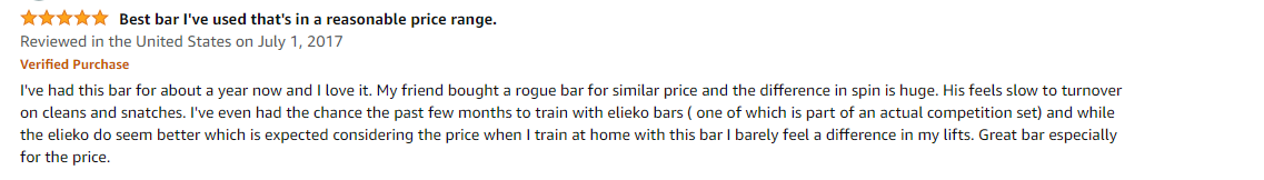 Buyer's review of Rep Fitness Barbell