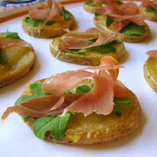 PROSCIUTTO DI SAN DANIELE, TRUFFLE CHEESE and POTATO APPETIZERS.