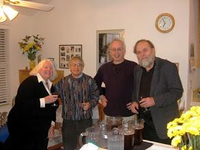Photo: MARIE MUELLER AND PROFESSORS BERNIE GROFMAN, BARY O'NEIL AND DENNIS MUELLER