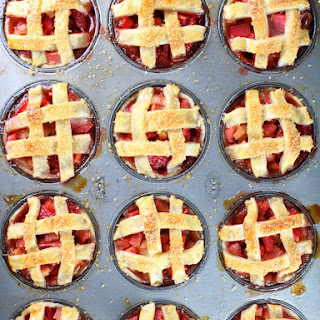Mini Strawberry Rhubarb Pies in Muffin Tins.